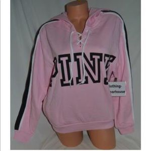vs pink lace-up pink hoodie